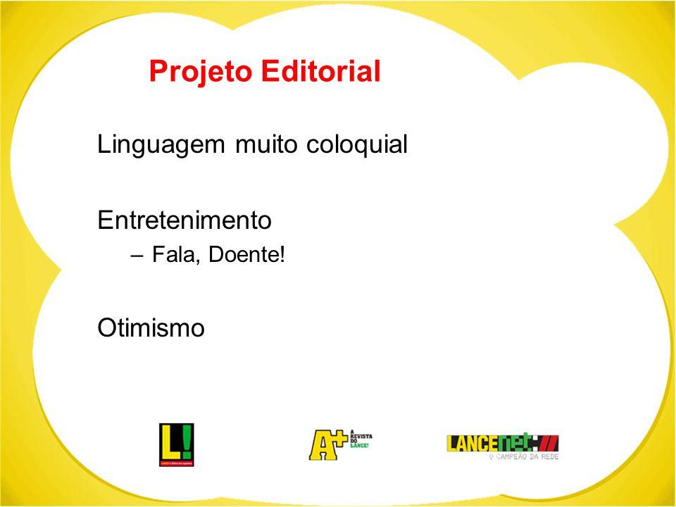 Projeto Editorial Linguagem muito coloquial Entretenimento –Fala, Doente! Otimismo
