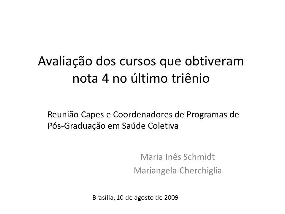 Avaliação dos cursos que obtiveram nota 4 no último triênio Maria Inês Schmidt Mariangela Cherchiglia Reunião Capes e Coordenadores de Programas de Pós-Graduação em Saúde Coletiva Brasília, 10 de agosto de 2009