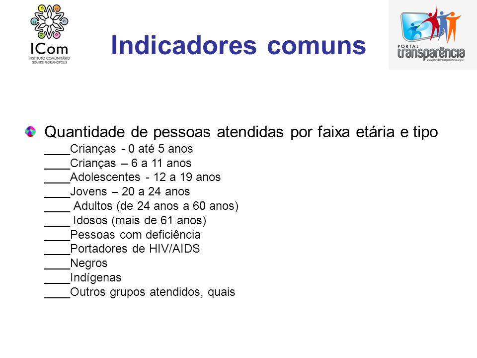 Indicadores comuns Quantidade de pessoas atendidas por faixa etária e tipo ____Crianças - 0 até 5 anos ____Crianças – 6 a 11 anos ____Adolescentes - 1