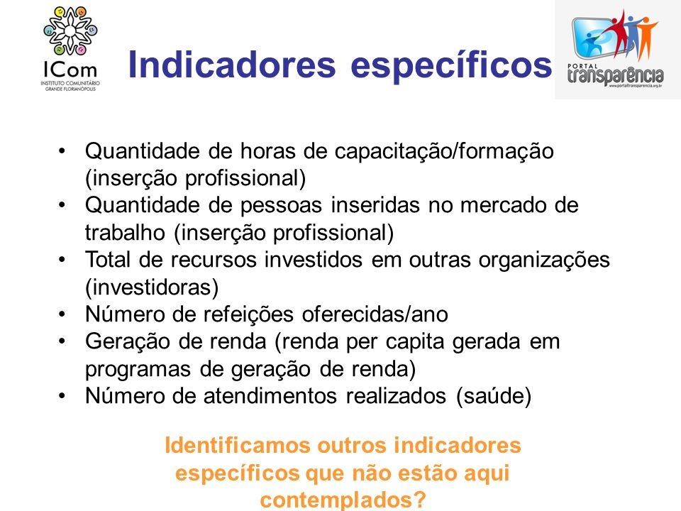Indicadores específicos Quantidade de horas de capacitação/formação (inserção profissional) Quantidade de pessoas inseridas no mercado de trabalho (in