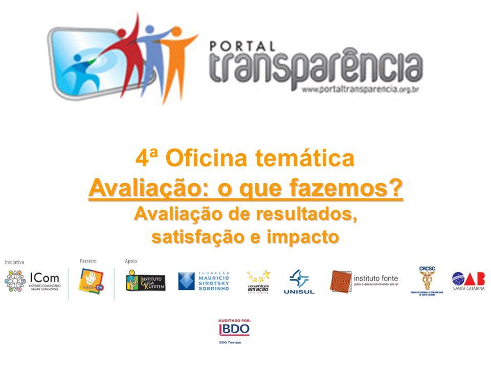 4ª Oficina temática Avaliação: o que fazemos? Avaliação de resultados, satisfação e impacto
