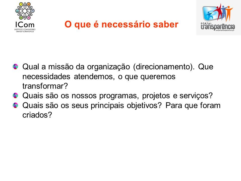 O que é necessário saber Qual a missão da organização (direcionamento). Que necessidades atendemos, o que queremos transformar? Quais são os nossos pr