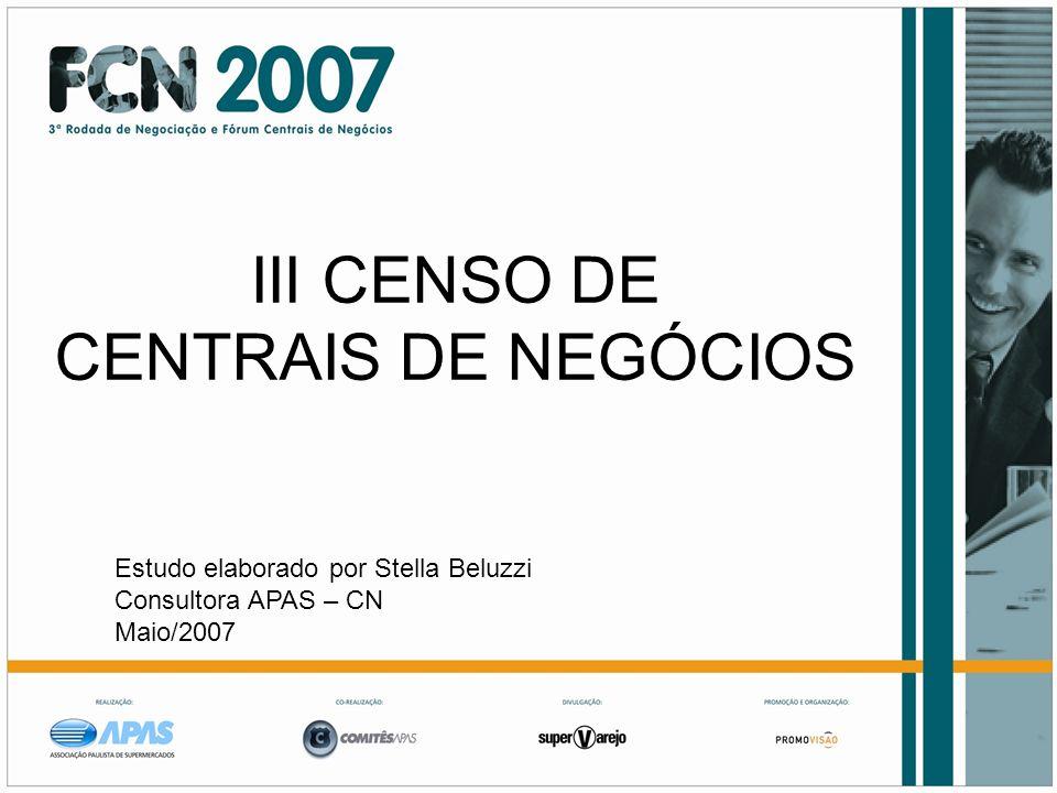 III CENSO DE CENTRAIS DE NEGÓCIOS Estudo elaborado por Stella Beluzzi Consultora APAS – CN Maio/2007