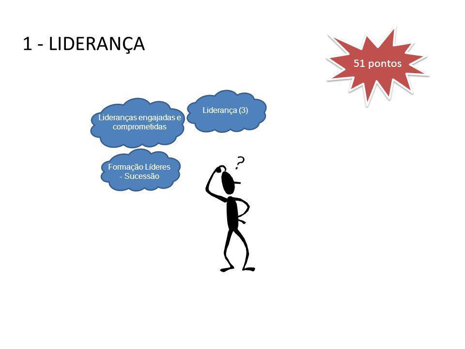 1 - LIDERANÇA Formação Líderes - Sucessão Lideranças engajadas e comprometidas Liderança (3) 51 pontos