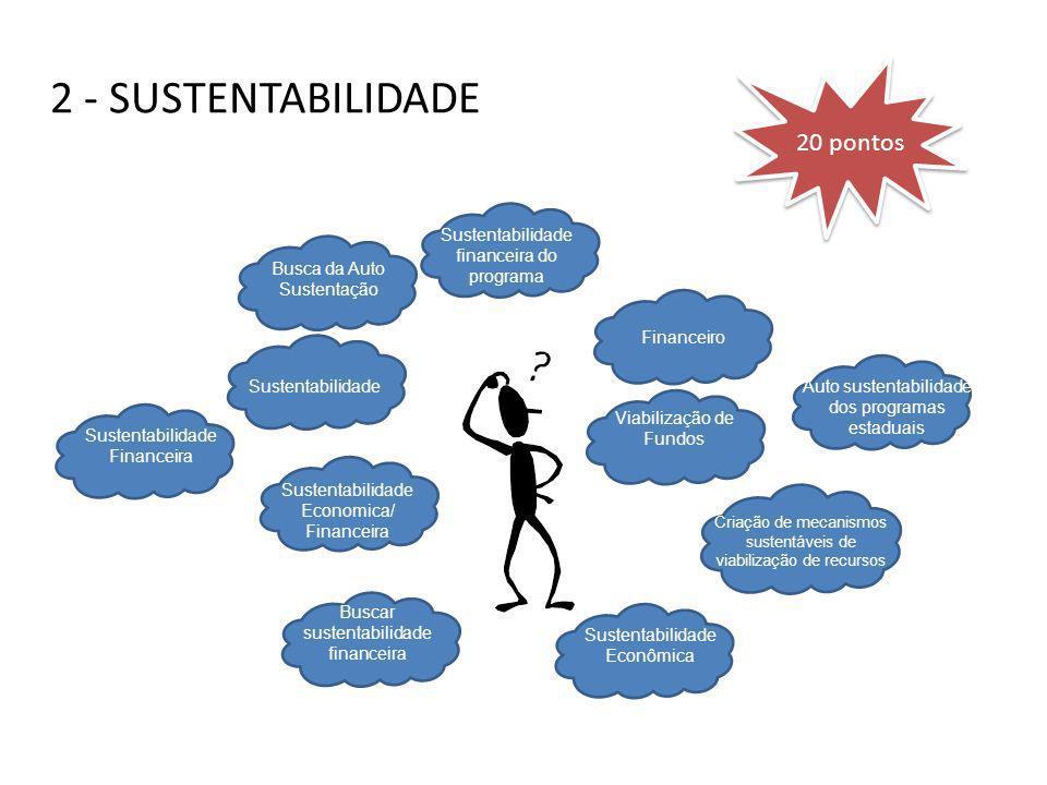 2 - SUSTENTABILIDADE Sustentabilidade Economica/ Financeira Viabilização de Fundos Financeiro Sustentabilidade Busca da Auto Sustentação Sustentabilid