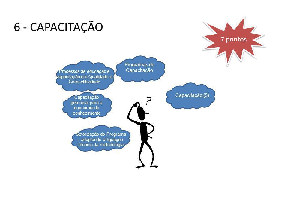 6 - CAPACITAÇÃO Setorização do Programa – adaptando a liguagem técnica da metodologia Capacitação gerencial para a economia do conhecimento Processos