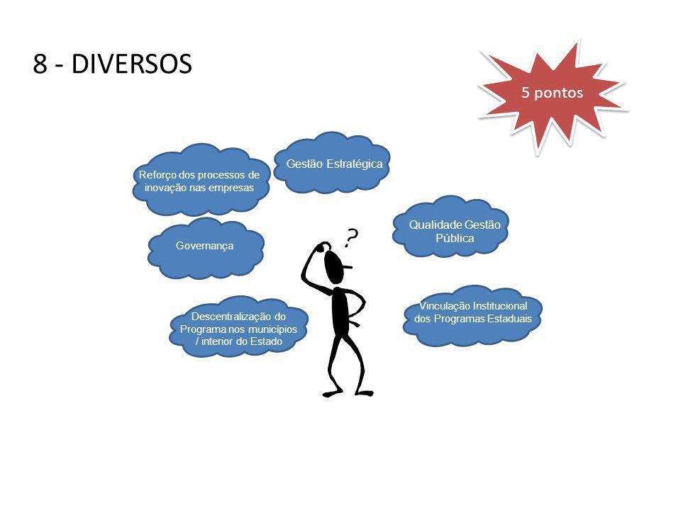8 - DIVERSOS Descentralização do Programa nos municípios / interior do Estado Governança Reforço dos processos de inovação nas empresas Gestão Estraté