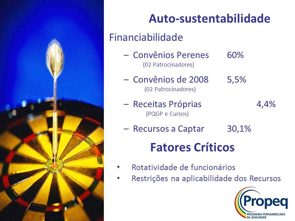 Financiabilidade –Convênios Perenes60% (02 Patrocinadores) –Convênios de 20085,5% (02 Patrocinadores) –Receitas Próprias4,4% (PQGP e Cursos) –Recursos