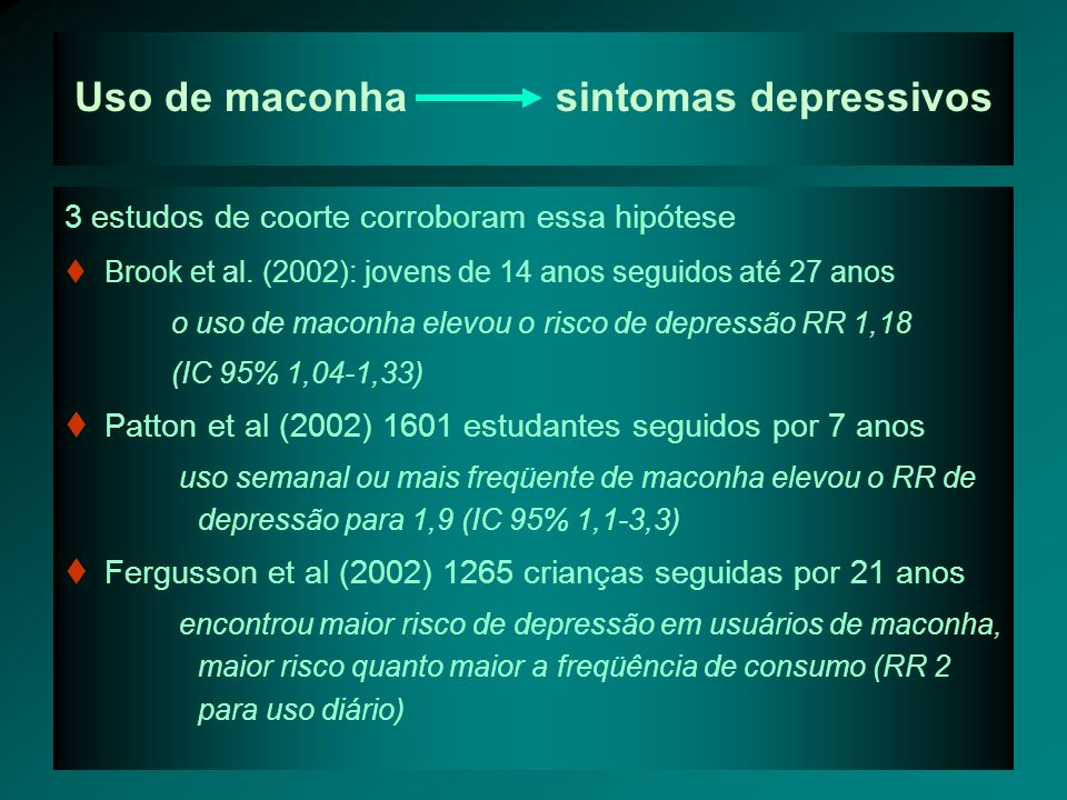 Uso de maconha sintomas depressivos 3 estudos de coorte corroboram essa hipótese Brook et al.