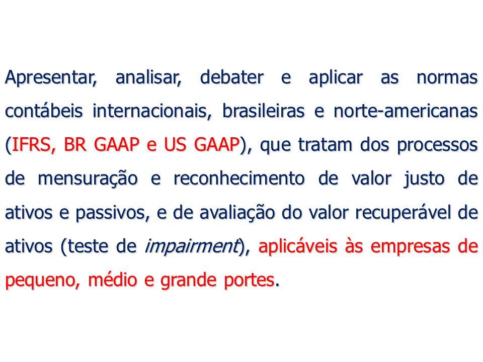 24 Valor Justo e BR GAAP Algumas das principais normas brasileiras do Comitê de Pronunciamentos Contábeis – CPC que usam o valor justo na avaliação e mensuração de ativos e passivos são: Algumas das principais normas brasileiras do Comitê de Pronunciamentos Contábeis – CPC que usam o valor justo na avaliação e mensuração de ativos e passivos são: CPC 01 (R1) – Impairment; CPC 01 (R1) – Impairment; CPC 02 (R2) - Efeitos Cambiais e Conversão de Demonstrações Contábeis; CPC 02 (R2) - Efeitos Cambiais e Conversão de Demonstrações Contábeis; CPC 04 (R1) - Ativos Intangíveis; CPC 04 (R1) - Ativos Intangíveis; CPC 10 (R1) – Pagamento Baseado em Ações; CPC 10 (R1) – Pagamento Baseado em Ações; CPC 15 (R1) – Combinação de Negócios; CPC 15 (R1) – Combinação de Negócios; CPC 16 (R1) – Estoques.