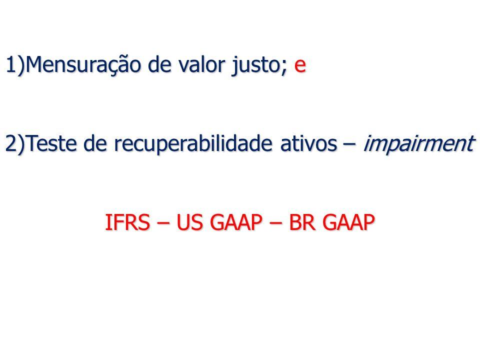 Avaliação: Avaliação: Liquidez Corrente em 31.12.X1 – Comparação: Liquidez Corrente (sistemática antiga em BR GAAP)= R$1,26 Liquidez Corrente (sistemática nova em IFRS e BR GAAP)= R$1,30 Análise conservadora: podem ser excluídos os ganhos e perdas não realizados com os valores justos, como forma de minimizar o risco da incerteza.