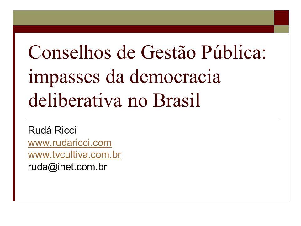 Conselhos de Gestão Pública: impasses da democracia deliberativa no Brasil Rudá Ricci www.rudaricci.com www.tvcultiva.com.br ruda@inet.com.br