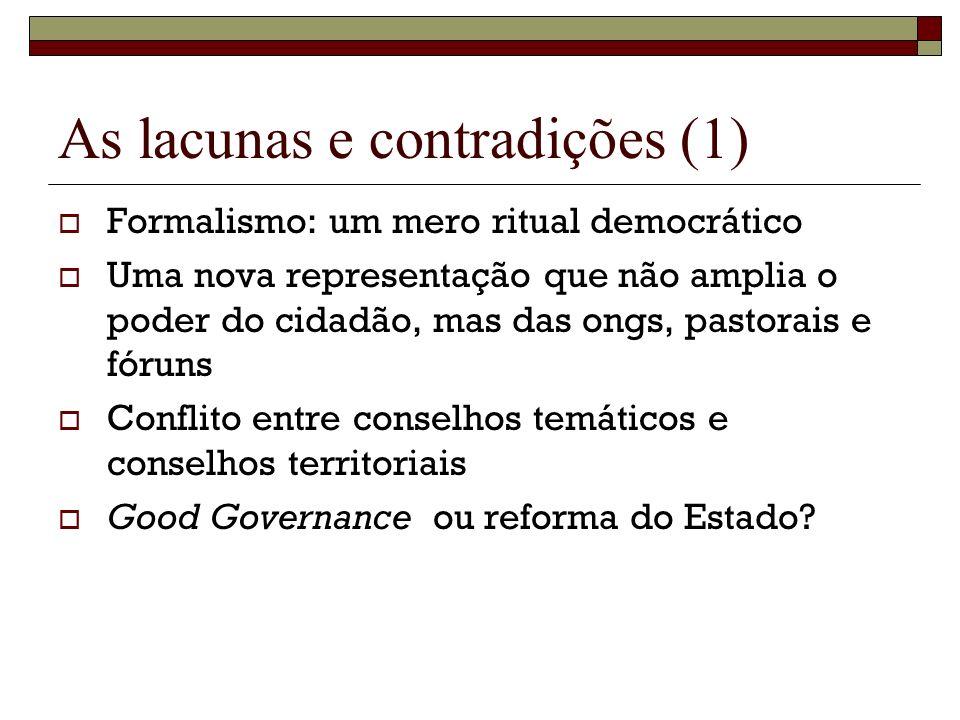 As lacunas e contradições (1) Formalismo: um mero ritual democrático Uma nova representação que não amplia o poder do cidadão, mas das ongs, pastorais