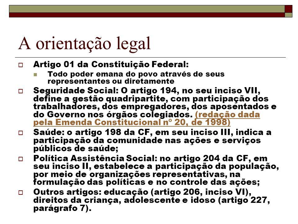 A orientação legal Artigo 01 da Constituição Federal: Todo poder emana do povo através de seus representantes ou diretamente Seguridade Social: O arti