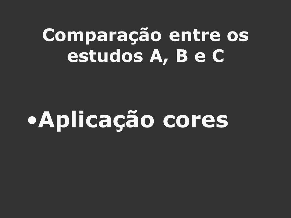 Comparação entre os estudos A, B e C Aplicação cores