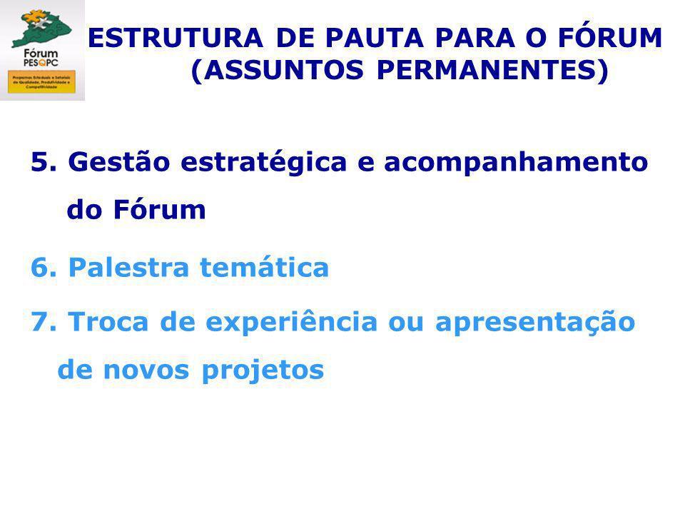 5. Gestão estratégica e acompanhamento do Fórum 6. Palestra temática 7. Troca de experiência ou apresentação de novos projetos ESTRUTURA DE PAUTA PARA