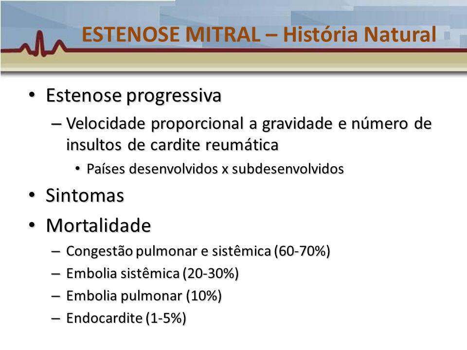 ESTENOSE MITRAL – História Natural Estenose progressiva Estenose progressiva – Velocidade proporcional a gravidade e número de insultos de cardite reu