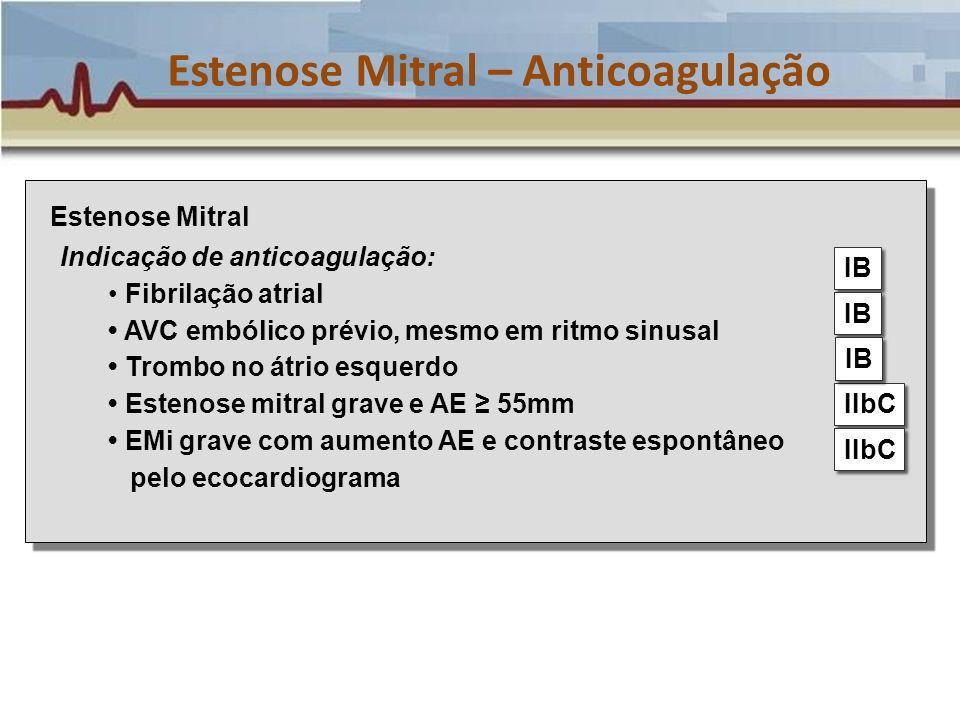 Estenose Mitral – Anticoagulação Estenose Mitral Indicação de anticoagulação: Fibrilação atrial AVC embólico prévio, mesmo em ritmo sinusal Trombo no