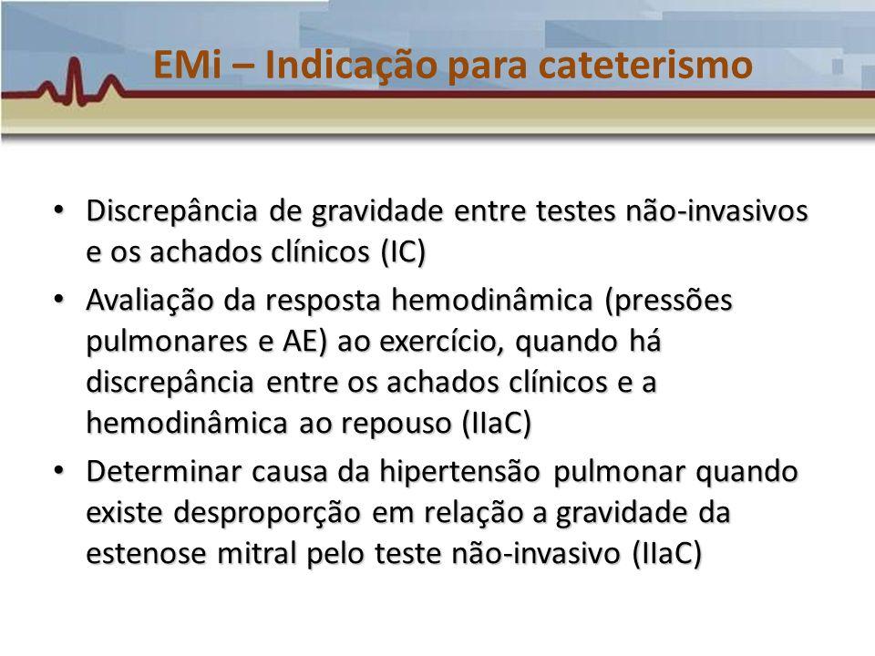 EMi – Indicação para cateterismo Discrepância de gravidade entre testes não-invasivos e os achados clínicos (IC) Discrepância de gravidade entre teste