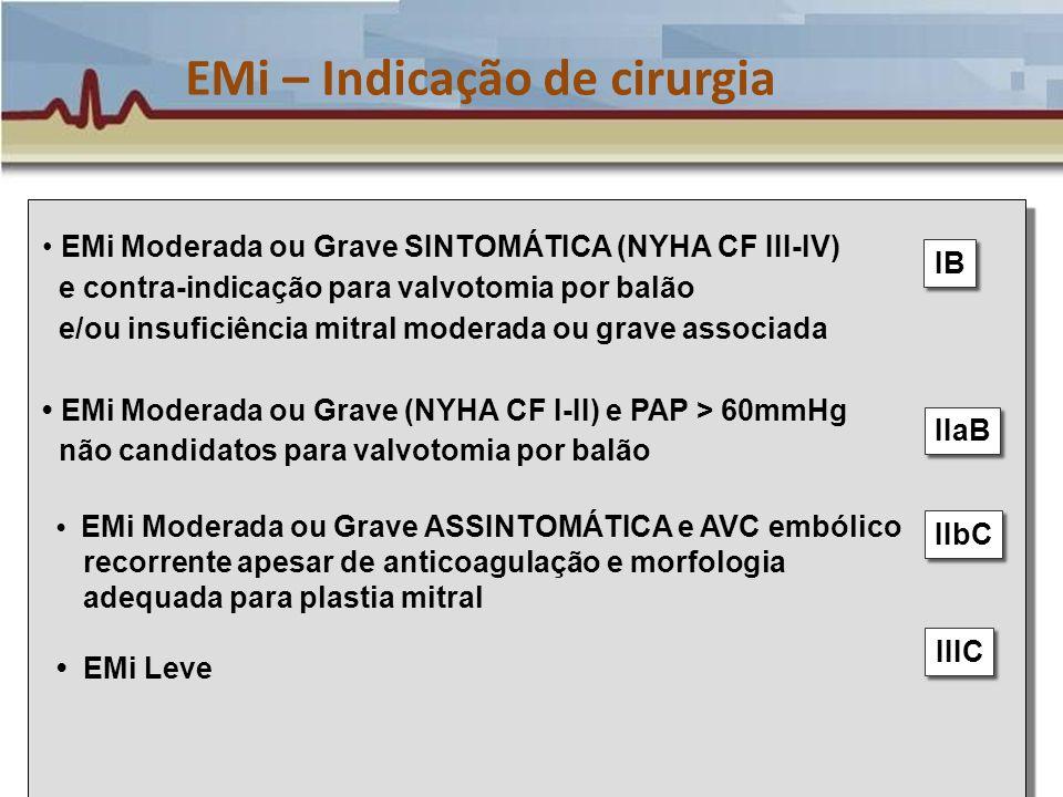 EMi – Indicação de cirurgia EMi Moderada ou Grave SINTOMÁTICA (NYHA CF III-IV) e contra-indicação para valvotomia por balão e/ou insuficiência mitral
