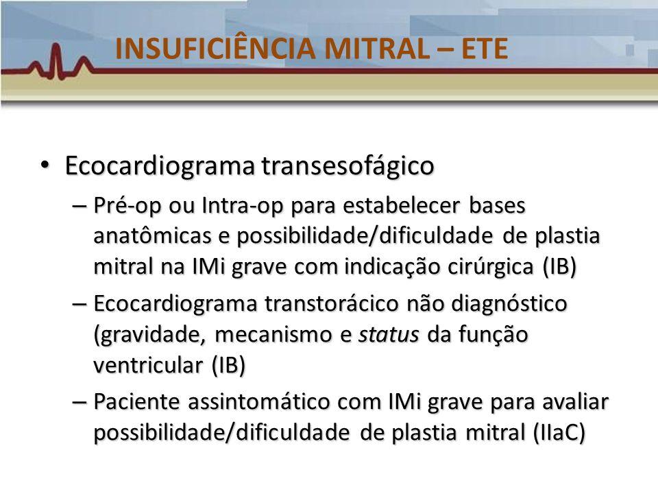INSUFICIÊNCIA MITRAL – ETE Ecocardiograma transesofágico Ecocardiograma transesofágico – Pré-op ou Intra-op para estabelecer bases anatômicas e possib
