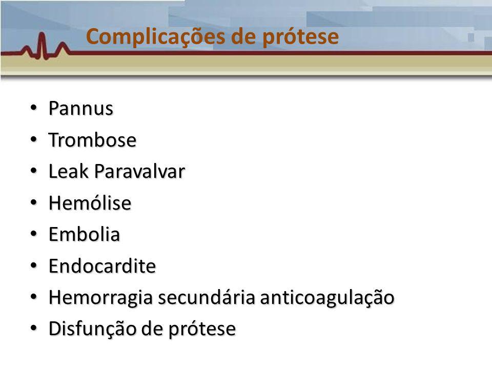 Complicações de prótese Pannus Pannus Trombose Trombose Leak Paravalvar Leak Paravalvar Hemólise Hemólise Embolia Embolia Endocardite Endocardite Hemo