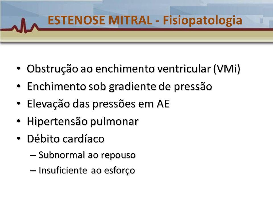 ESTENOSE MITRAL – História Natural Estenose progressiva Estenose progressiva – Velocidade proporcional a gravidade e número de insultos de cardite reumática Países desenvolvidos x subdesenvolvidos Países desenvolvidos x subdesenvolvidos Sintomas Sintomas Mortalidade Mortalidade – Congestão pulmonar e sistêmica (60-70%) – Embolia sistêmica (20-30%) – Embolia pulmonar (10%) – Endocardite (1-5%)