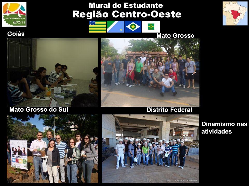 Região Centro-Oeste Mural do Estudante Goiás Mato Grosso Dinamismo nas atividades Mato Grosso do Sul Distrito Federal