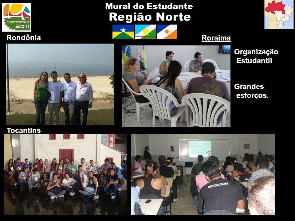 Região Norte Mural do Estudante Rondônia Roraima Grandes esforços. Tocantins Organização Estudantil Tocantins