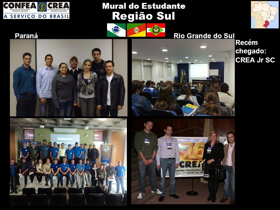 Região Sul Mural do Estudante Paraná Recém chegado: CREA Jr SC Rio Grande do Sul