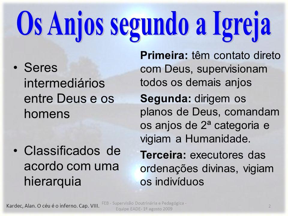 2 Seres intermediários entre Deus e os homens Classificados de acordo com uma hierarquia Primeira: têm contato direto com Deus, supervisionam todos os
