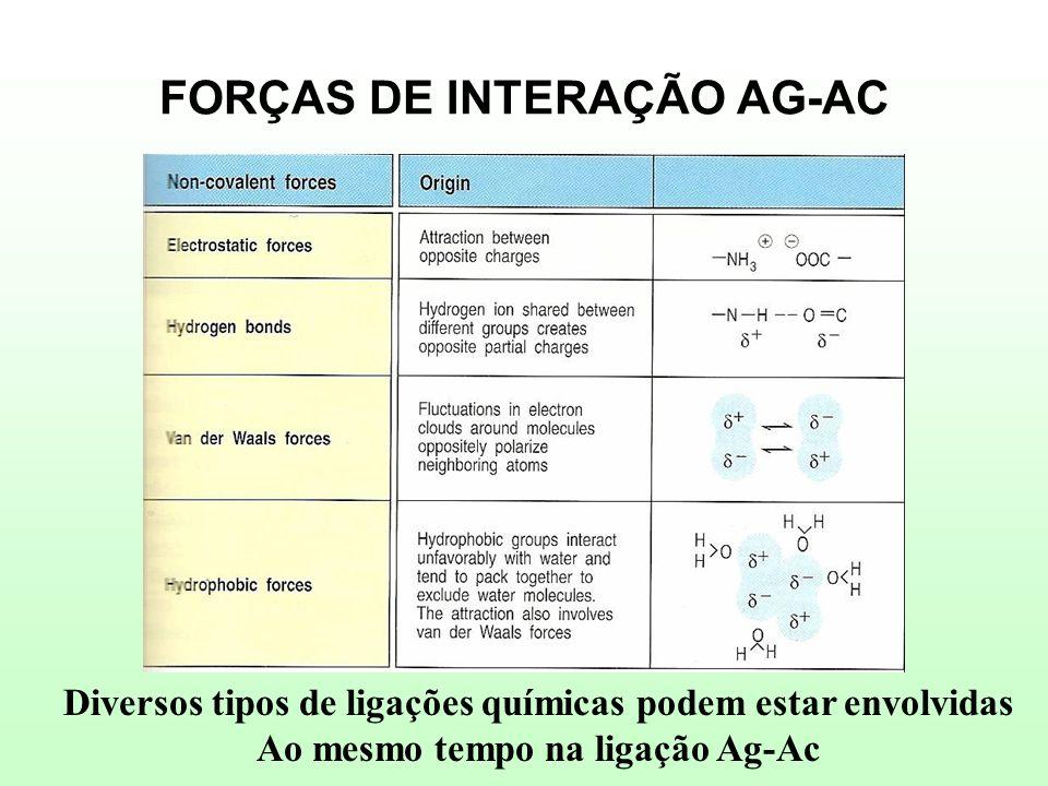 FORÇAS DE INTERAÇÃO AG-AC Diversos tipos de ligações químicas podem estar envolvidas Ao mesmo tempo na ligação Ag-Ac