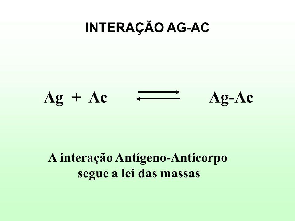 INTERAÇÃO AG-AC Ag + Ac Ag-Ac A interação Antígeno-Anticorpo segue a lei das massas