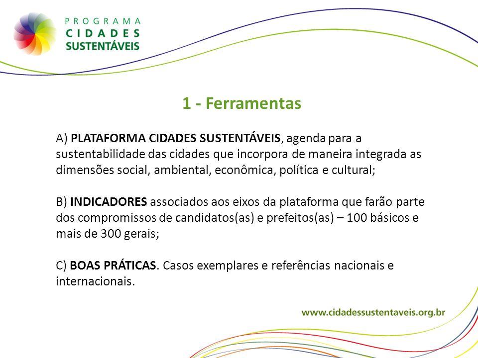1 - Ferramentas A) PLATAFORMA CIDADES SUSTENTÁVEIS, agenda para a sustentabilidade das cidades que incorpora de maneira integrada as dimensões social,