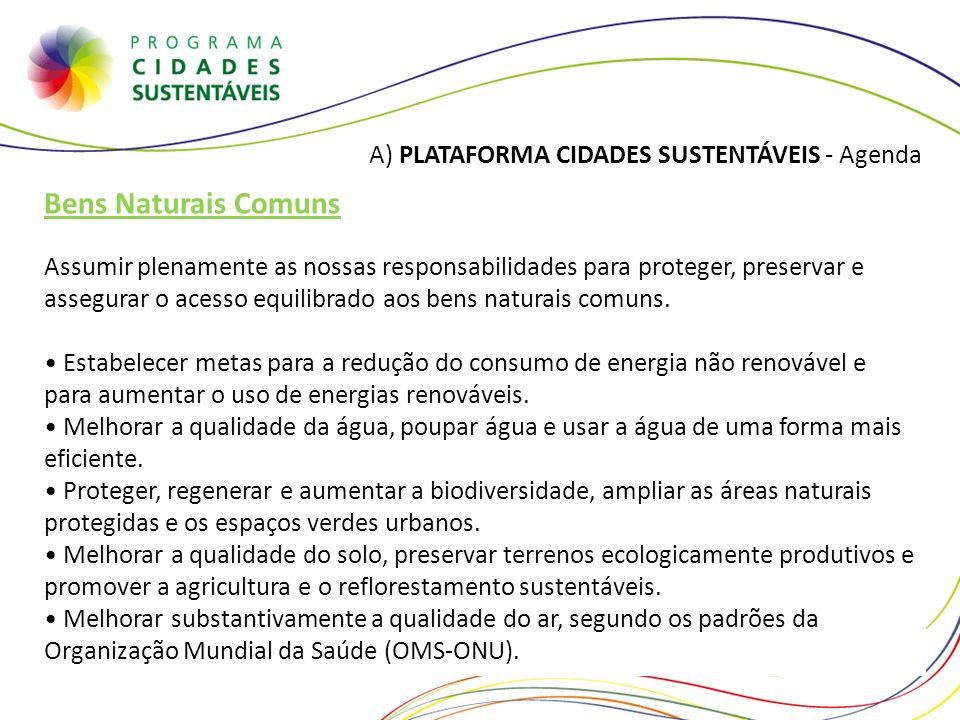 A) PLATAFORMA CIDADES SUSTENTÁVEIS - Agenda Bens Naturais Comuns Assumir plenamente as nossas responsabilidades para proteger, preservar e assegurar o