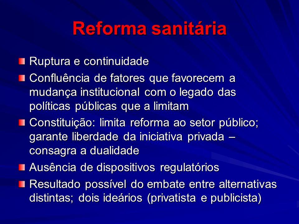 Reforma sanitária Ruptura e continuidade Confluência de fatores que favorecem a mudança institucional com o legado das políticas públicas que a limita