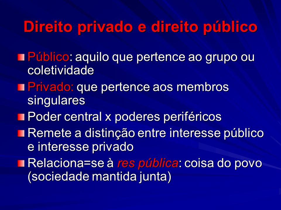 Direito privado e direito público Público: aquilo que pertence ao grupo ou coletividade Privado: que pertence aos membros singulares Poder central x p