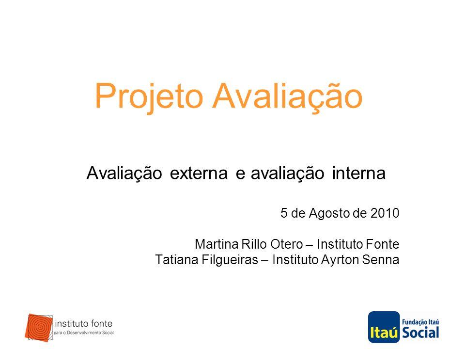 Avaliação externa e avaliação interna 5 de Agosto de 2010 Martina Rillo Otero – Instituto Fonte Tatiana Filgueiras – Instituto Ayrton Senna Projeto Av