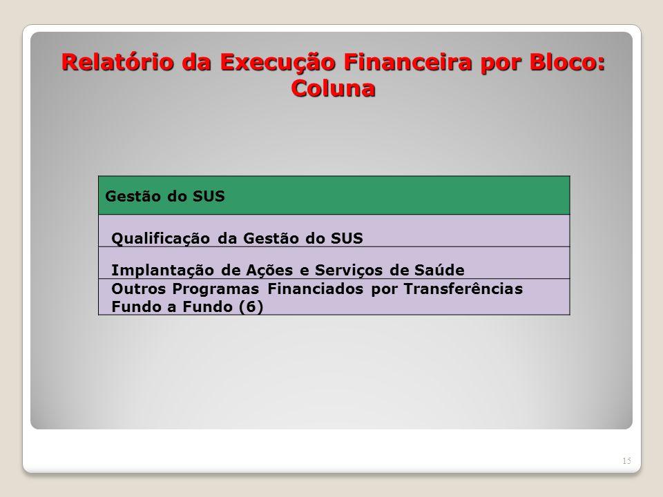 Relatório da Execução Financeira por Bloco: Coluna 15 Gestão do SUS Qualificação da Gestão do SUS Implantação de Ações e Serviços de Saúde Outros Prog