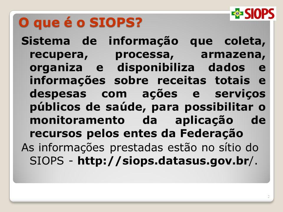 O que é o SIOPS? Sistema de informação que coleta, recupera, processa, armazena, organiza e disponibiliza dados e informações sobre receitas totais e
