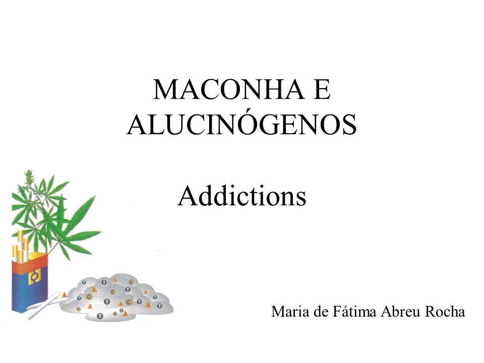 ROTEIRO I – Introdução: Maconha e Alucinógenos II – Maconha Absorção e Metabolismo Neurofarmacologia Preparação, dosagens e formas de administração Efeitos agudos Tolerância, abstinência e dependência Efeitos adversos na saúde, segurança e adaptação