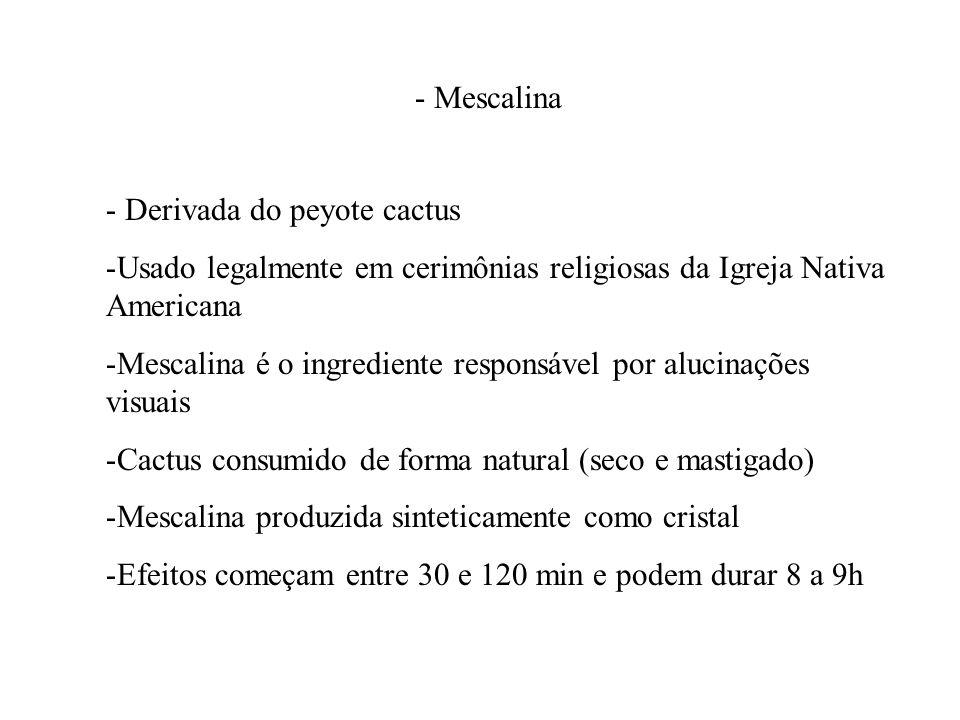 - Mescalina - Derivada do peyote cactus -Usado legalmente em cerimônias religiosas da Igreja Nativa Americana -Mescalina é o ingrediente responsável p