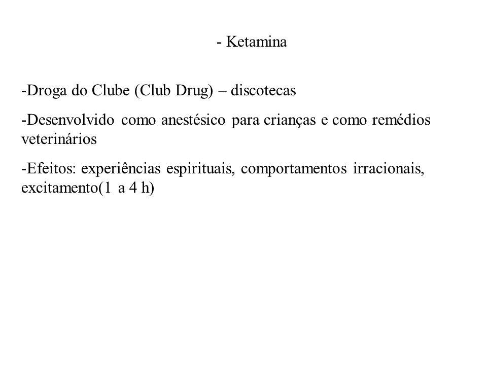 - Ketamina -Droga do Clube (Club Drug) – discotecas -Desenvolvido como anestésico para crianças e como remédios veterinários -Efeitos: experiências es
