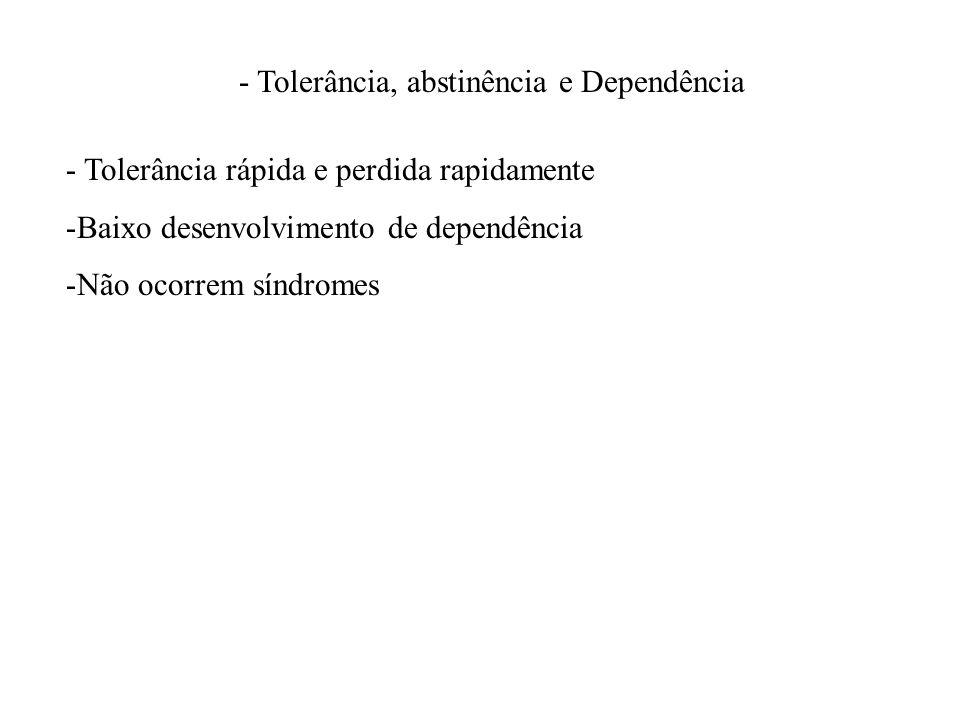 - Tolerância, abstinência e Dependência - Tolerância rápida e perdida rapidamente -Baixo desenvolvimento de dependência -Não ocorrem síndromes