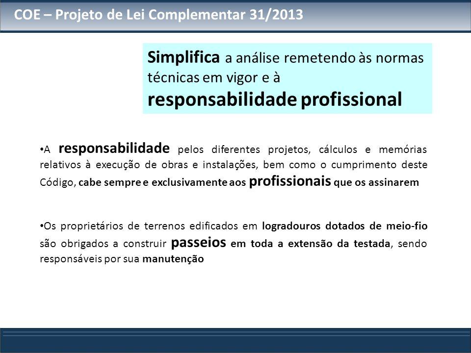 A responsabilidade pelos diferentes projetos, cálculos e memórias relativos à execução de obras e instalações, bem como o cumprimento deste Código, ca