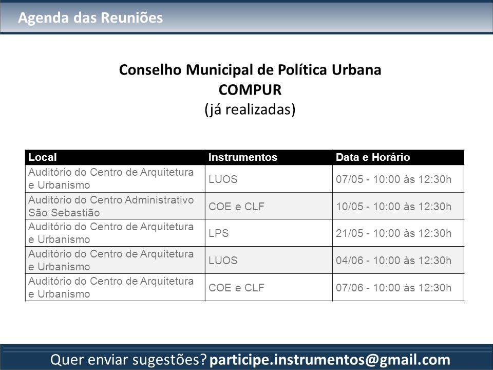 Agenda das Reuniões Conselho Municipal de Política Urbana COMPUR (já realizadas) Quer enviar sugestões? participe.instrumentos@gmail.com LocalInstrume