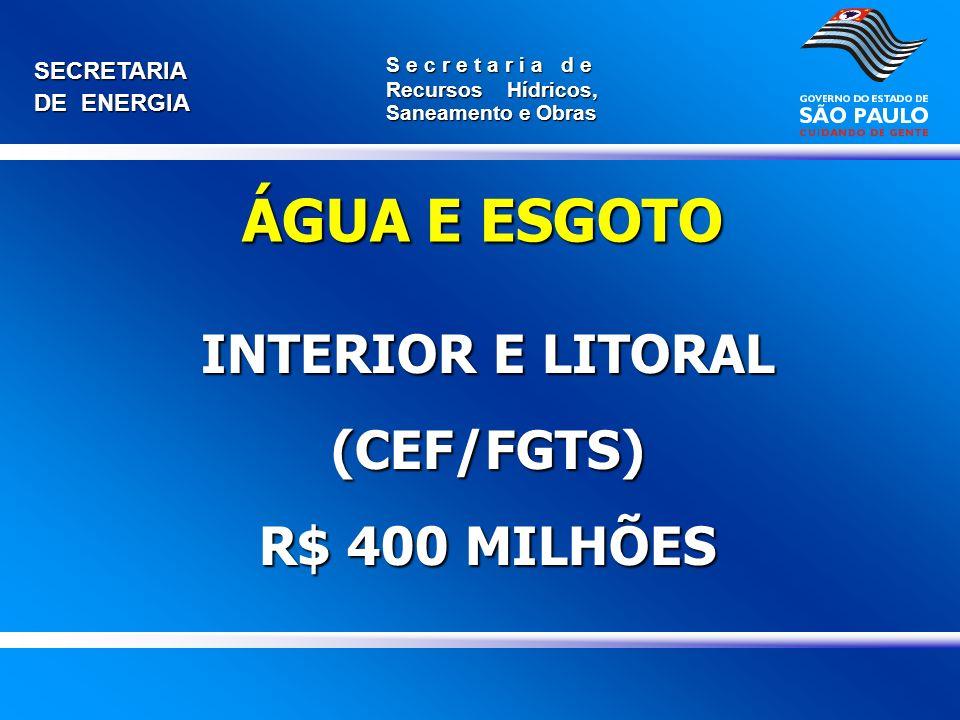 SECRETARIA DE ENERGIA S e c r e t a r i a d e Recursos Hídricos, Saneamento e Obras INTERIOR E LITORAL (CEF/FGTS) R$ 400 MILHÕES ÁGUA E ESGOTO