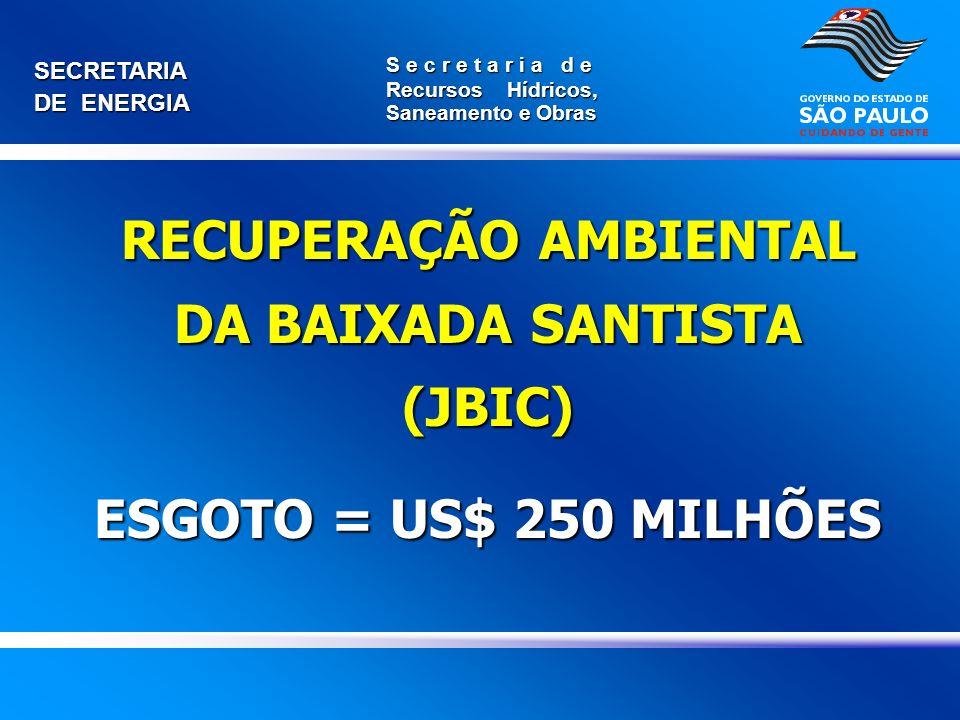 SECRETARIA DE ENERGIA S e c r e t a r i a d e Recursos Hídricos, Saneamento e Obras RECUPERAÇÃO AMBIENTAL DA BAIXADA SANTISTA (JBIC) ESGOTO = US$ 250