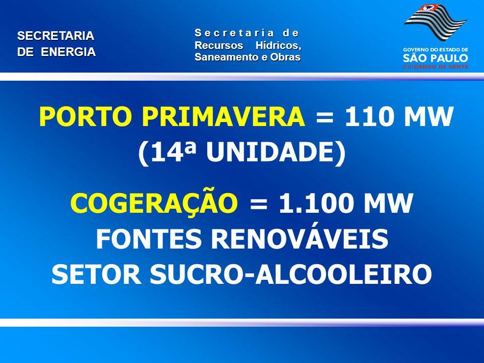 SECRETARIA DE ENERGIA S e c r e t a r i a d e Recursos Hídricos, Saneamento e Obras PORTO PRIMAVERA = 110 MW (14ª UNIDADE) COGERAÇÃO = 1.100 MW FONTES