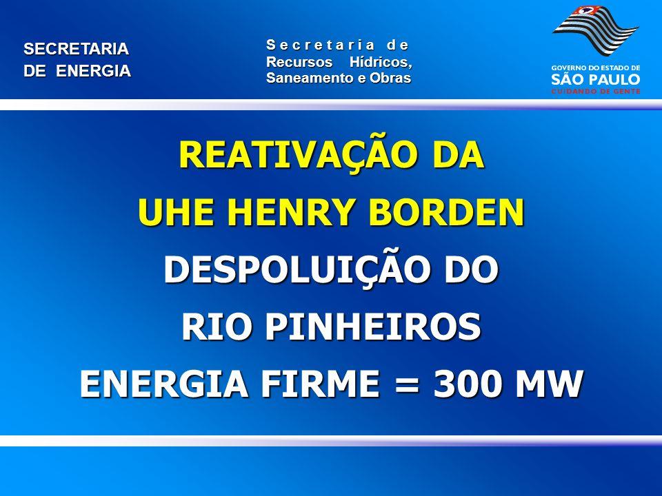 SECRETARIA DE ENERGIA S e c r e t a r i a d e Recursos Hídricos, Saneamento e Obras REATIVAÇÃO DA UHE HENRY BORDEN DESPOLUIÇÃO DO RIO PINHEIROS ENERGI